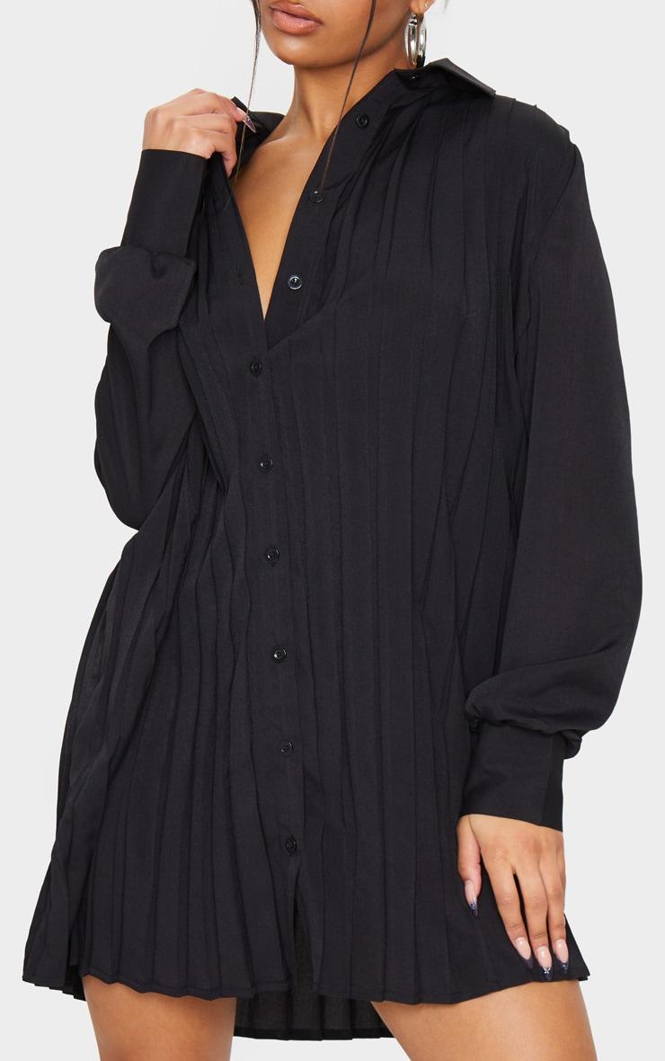 Black Pleated Oversized Shirt Dress 4