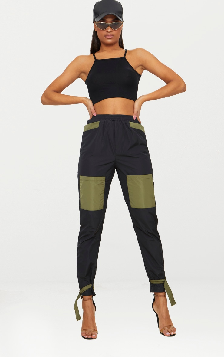 Basic Black Jersey Racer Neck Crop Top 2