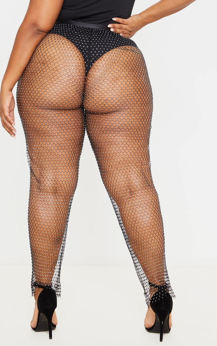 Plus Black Mesh Diamante Wide Leg Pants 4