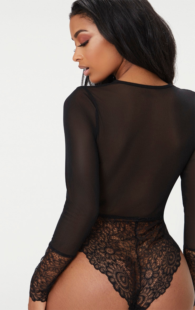 Black Long Sleeved Cuff Lace Body 2