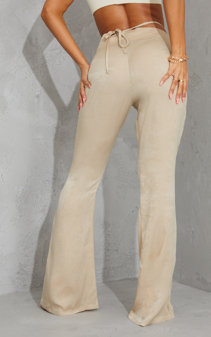 Stone Tie Waist Shimmer Flared Pants 3