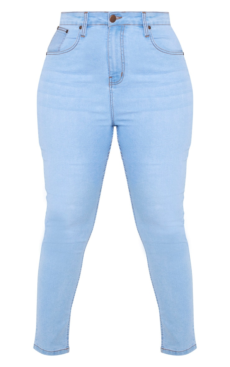 Plus Light Wash High Waisted Skinny Jean 3