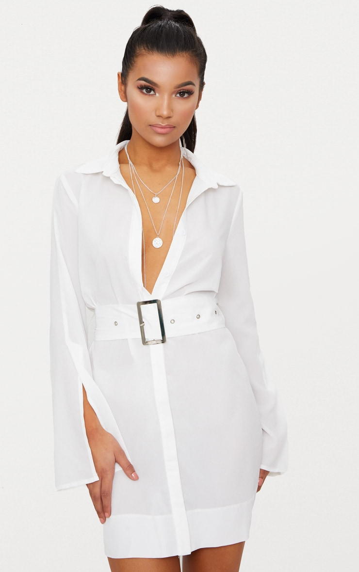 0cc344578fb White Belted Shirt Dress image 1