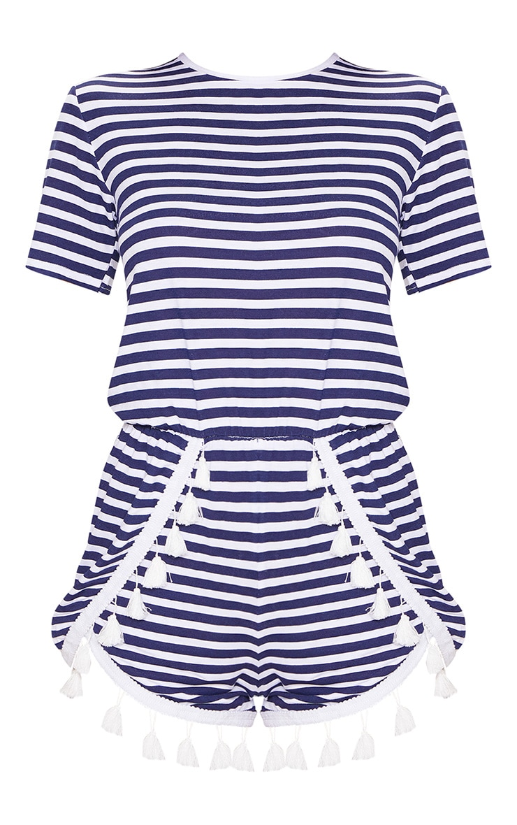 Navy Striped Tassel Trim Playsuit 3