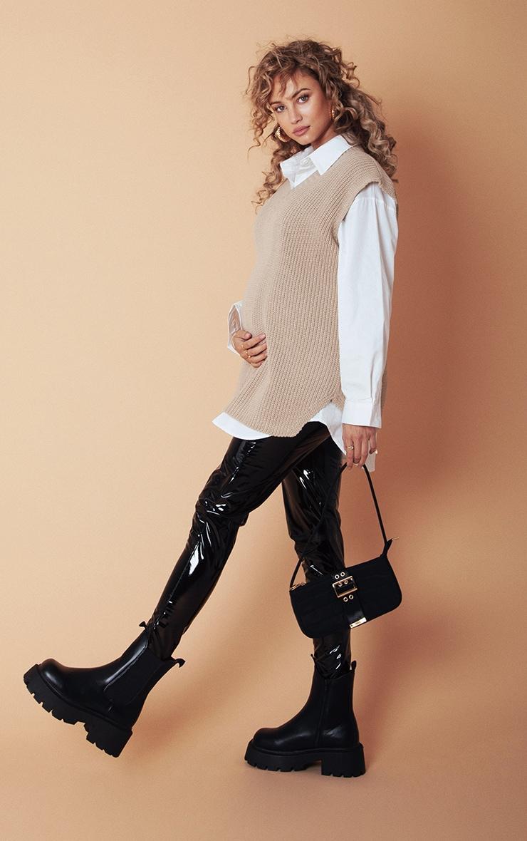 PLT Maternité - Legging noir en vinyle