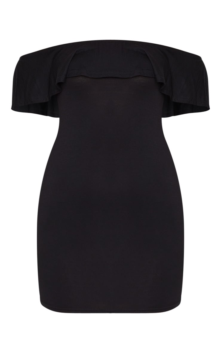 Black Bardot Frill Detail Bodycon Dress 5