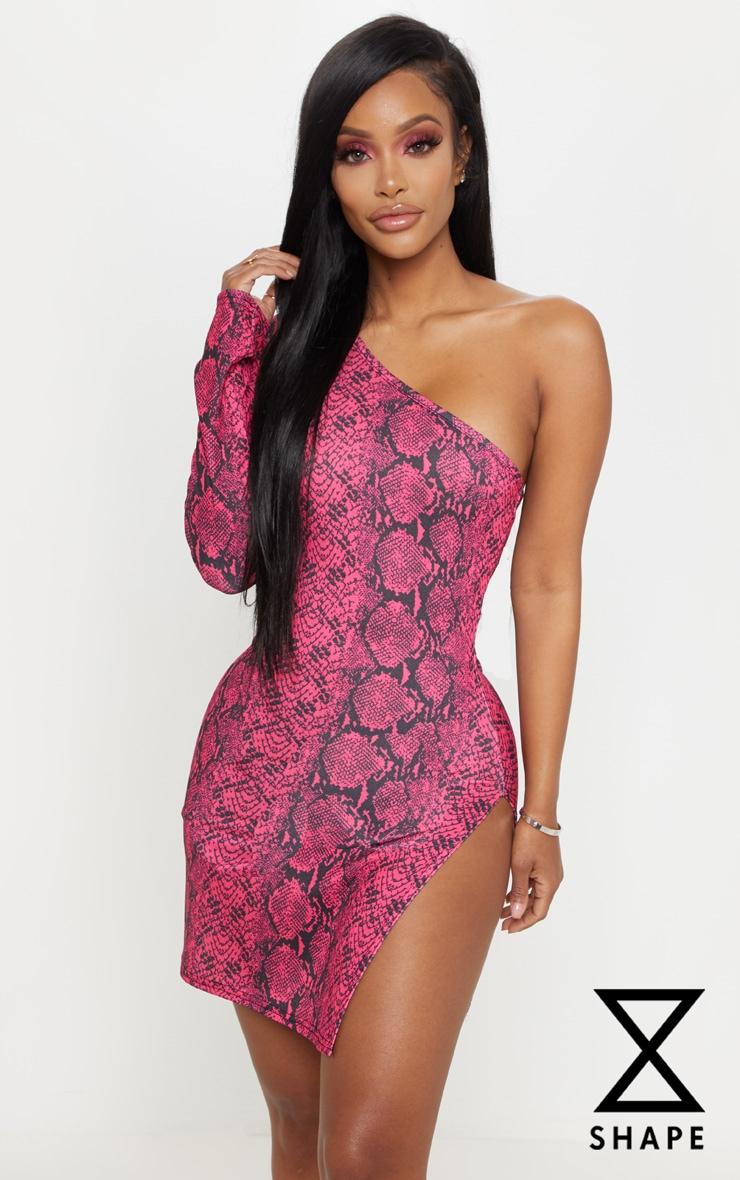 Shape Neon Pink Snake Print One Shoulder Split Bodycon Dress 1