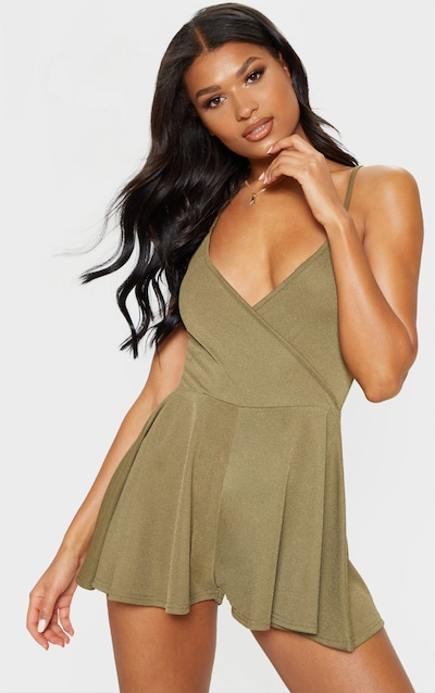 a4342512d14 Khaki Crepe Strappy Wrap Playsuit