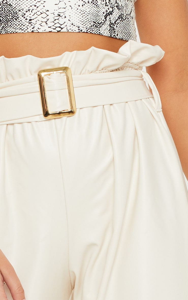 Cream Faux Leather Belted Waist Wide Leg Trouser 5