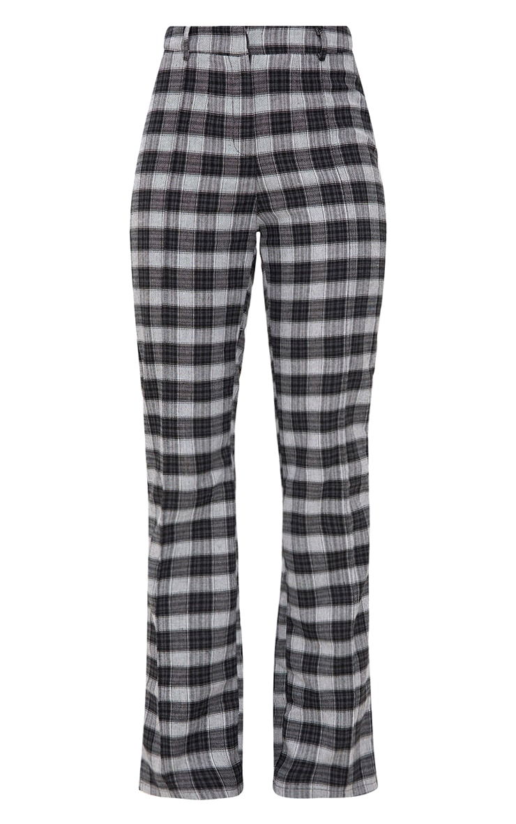 Black Check High Waisted Trousers 3