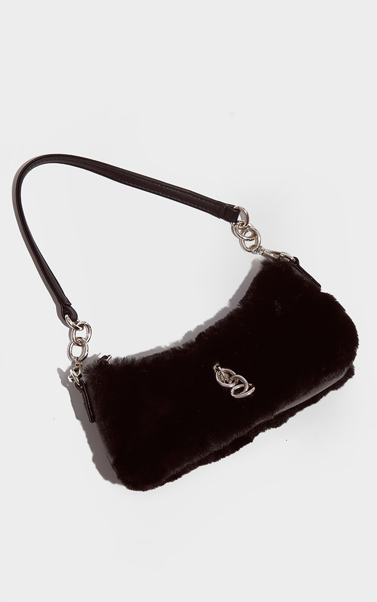 Black Faux Fur Silver Chain Shoulder Bag 2