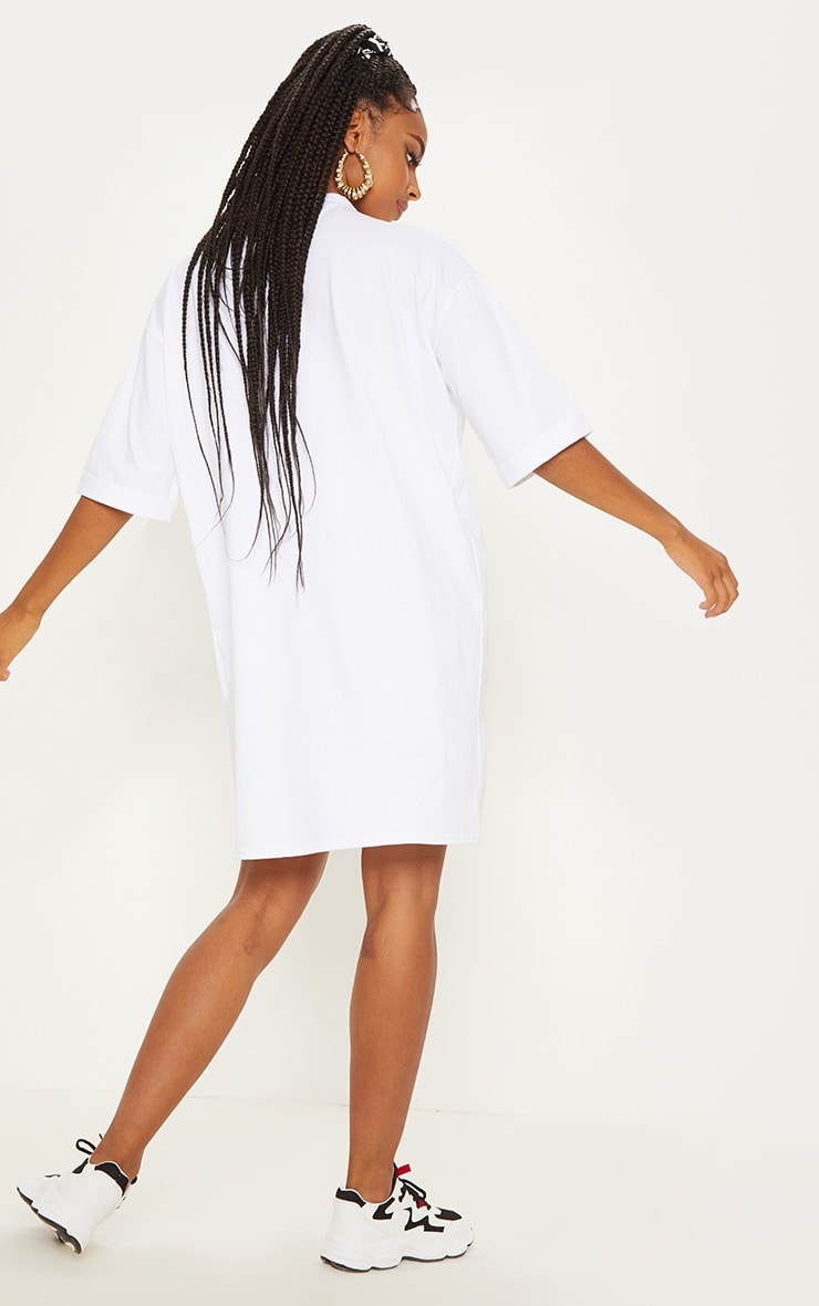White Oversized Boyfriend Sleeve T Shirt Dress 2