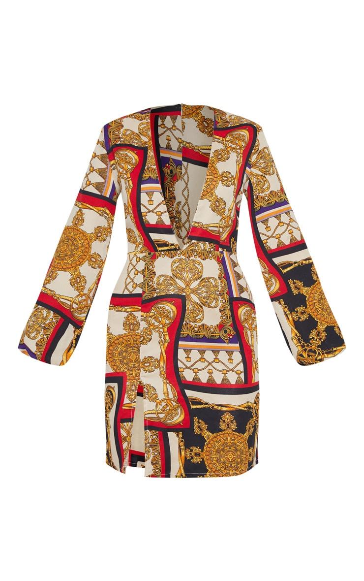 Multi Satin Chain Print Bodycon Dress 3