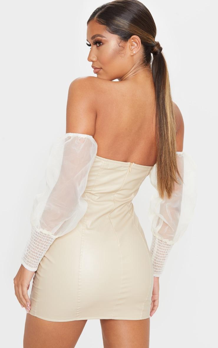 Nude PU Organza Sleeve Bardot Bodycon Dress 2
