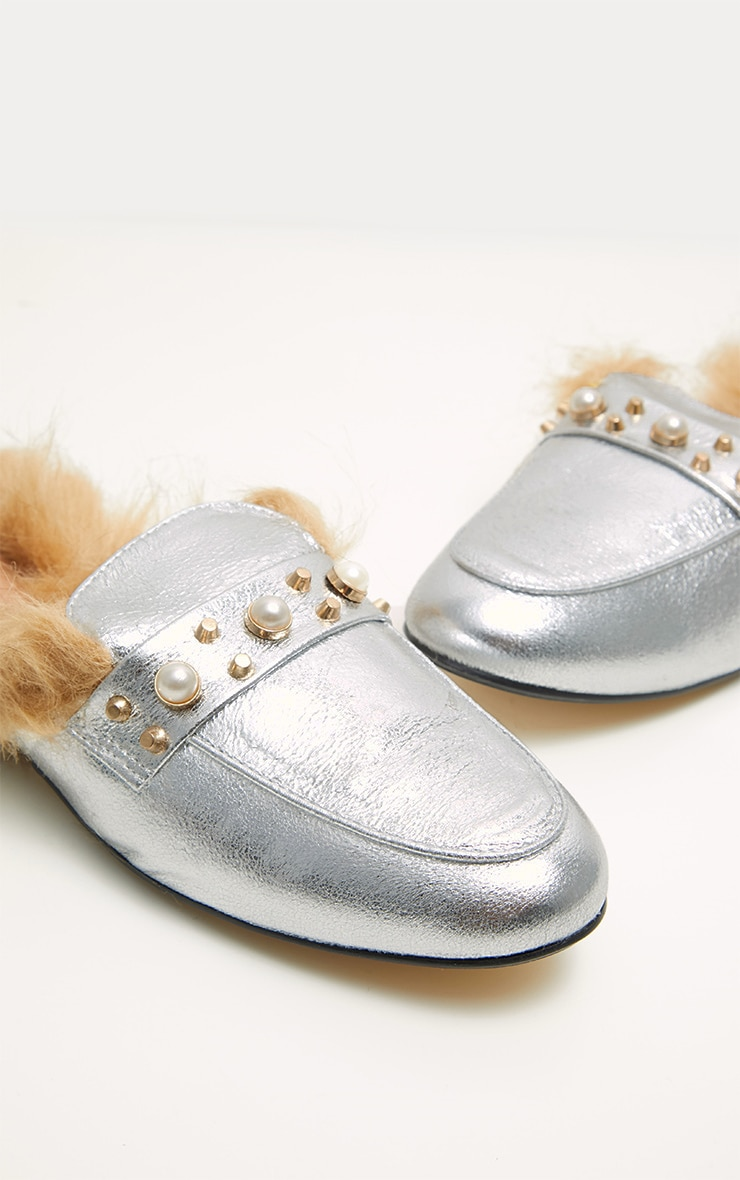 Silver Pearl Studded Mules  3