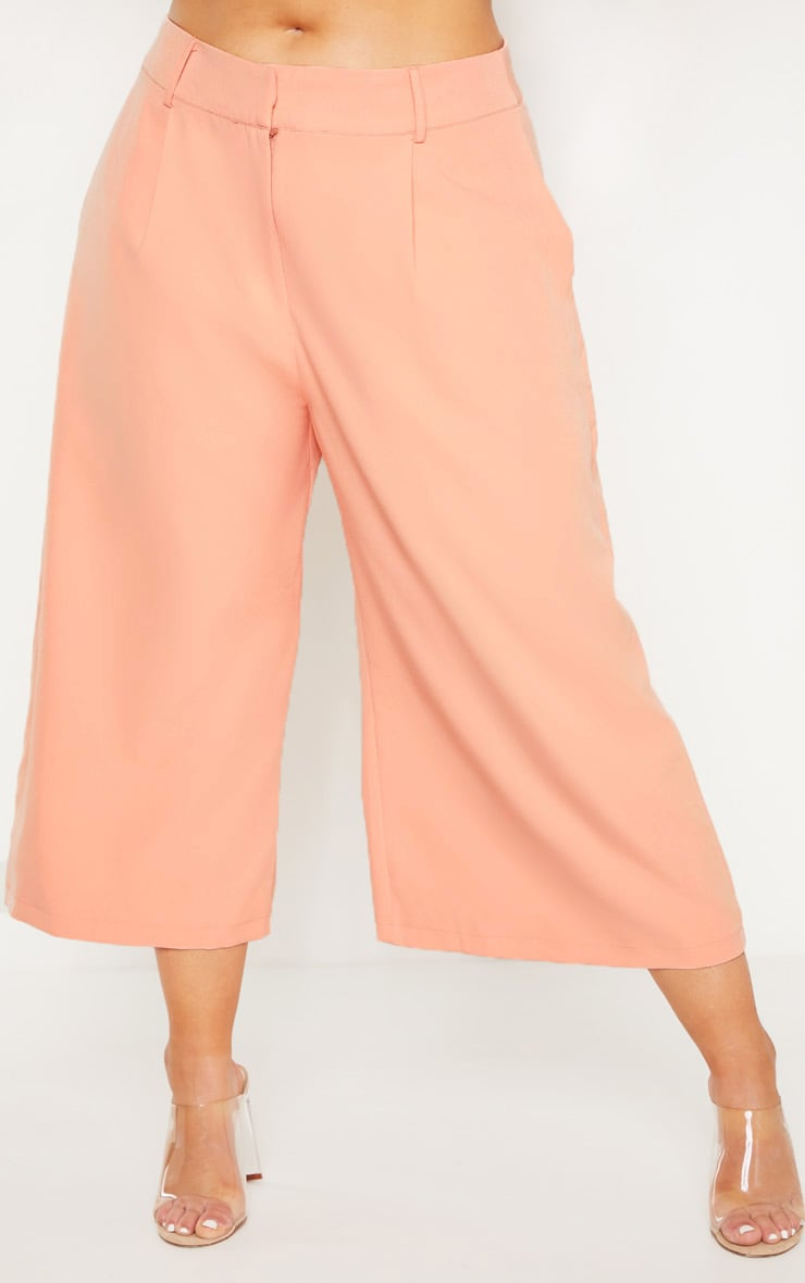 Plus Peach High Waist Culottes 2