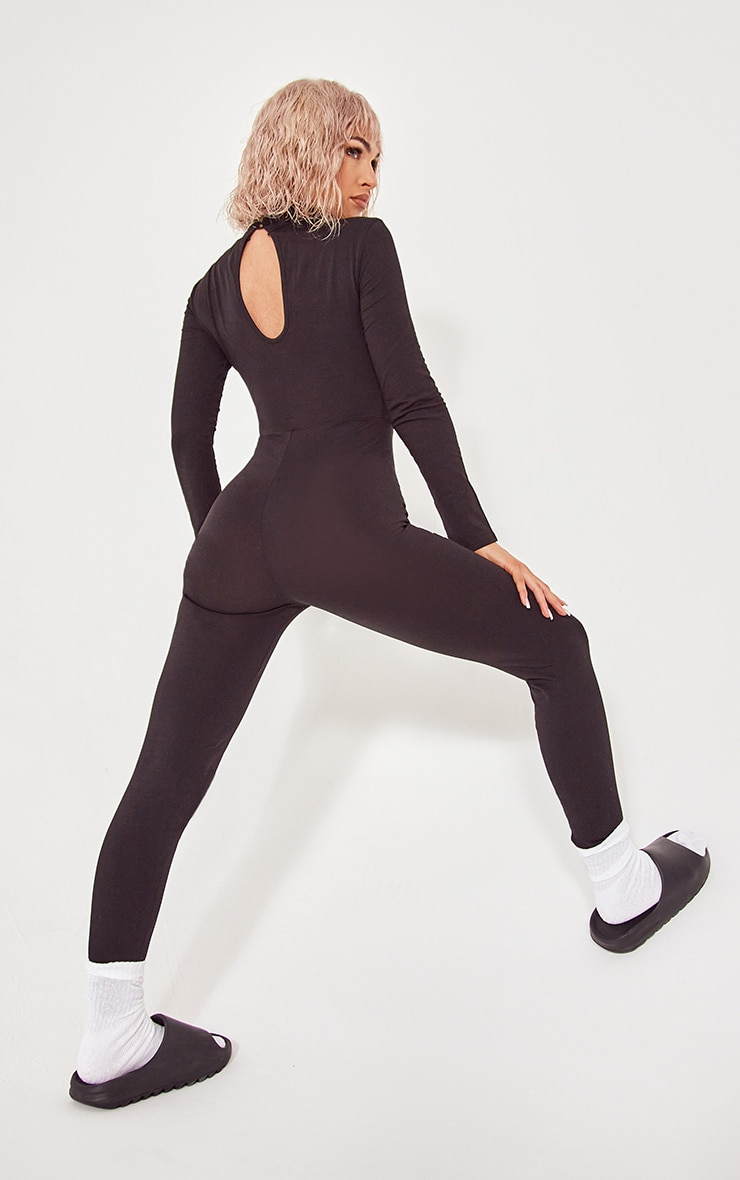 Black Roll Neck Long Sleeve Jumpsuit 2