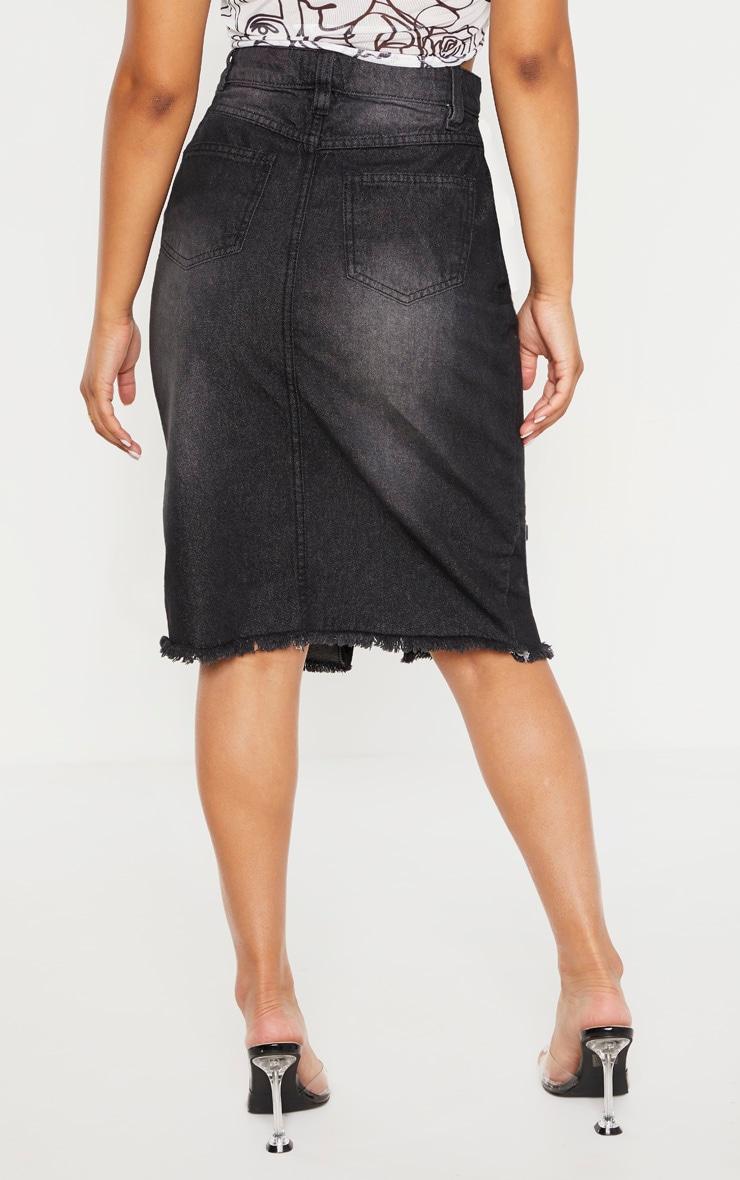 Petite Washed Black Midi Denim Skirt 4