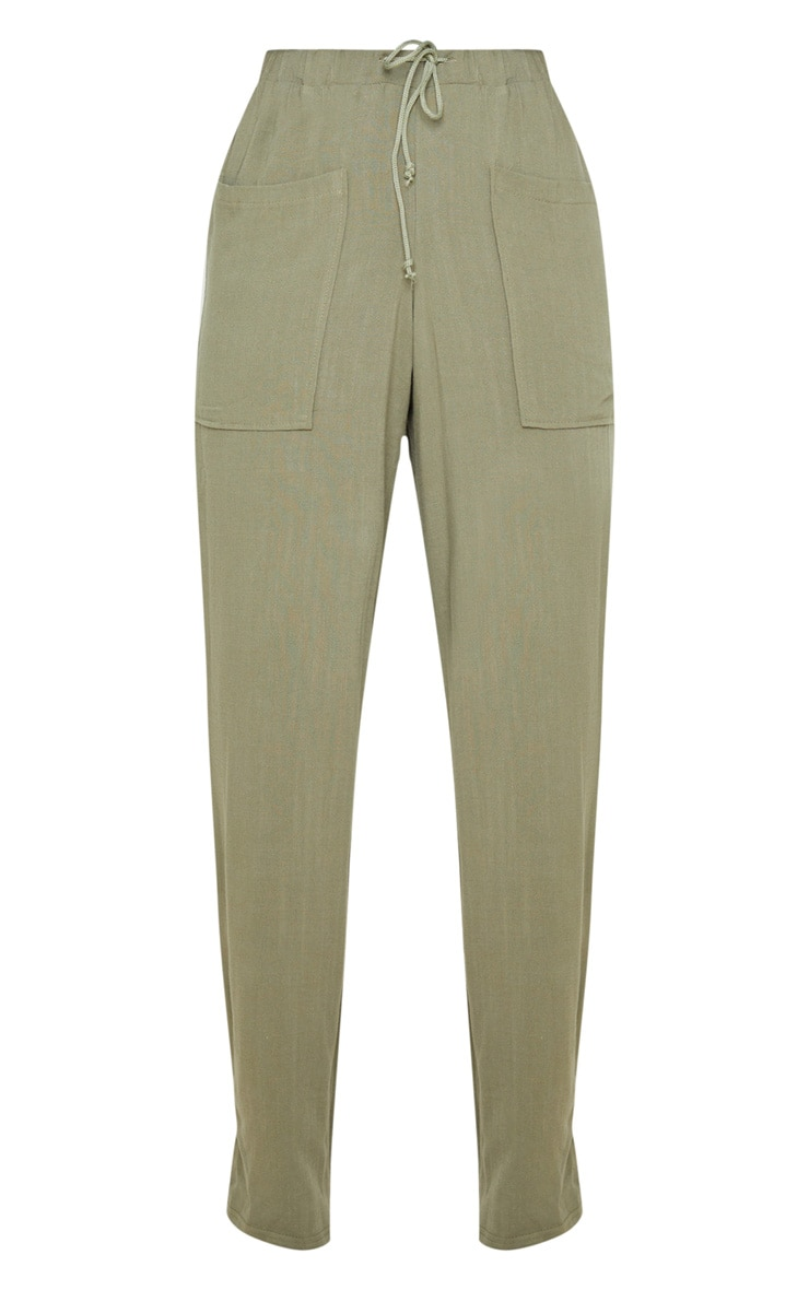 Khaki Drawstring Waist Tapered Pocket Trouser 3