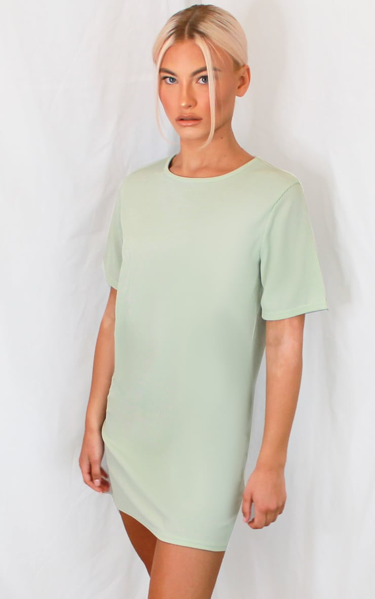 Sage Green Rib Short Sleeve T Shirt Dress 1