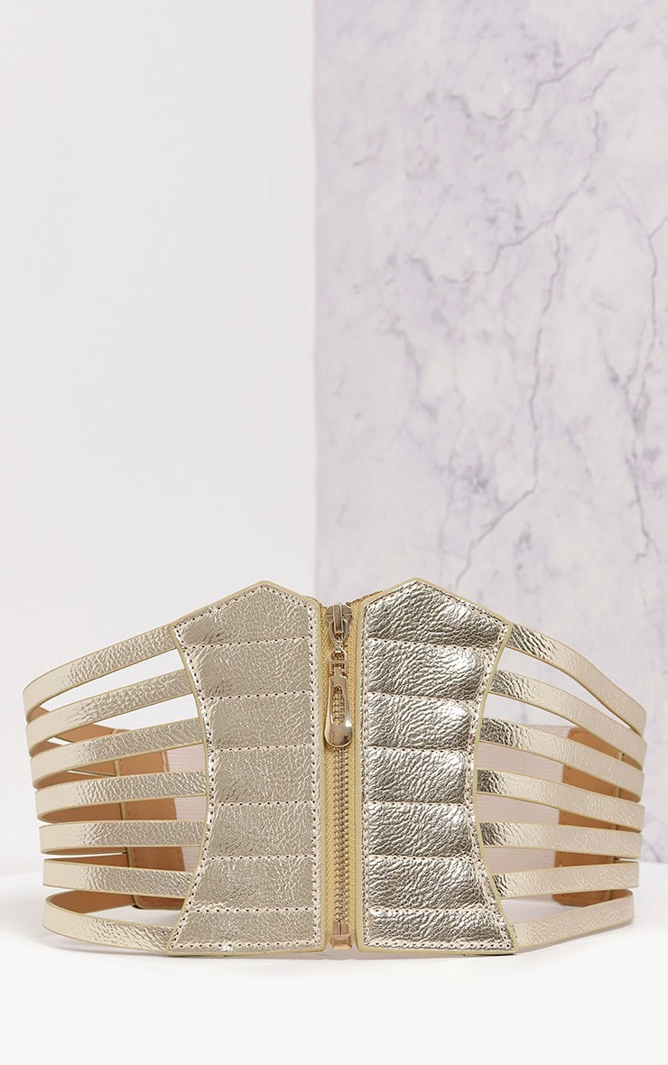 Nikola Gold Zip Detail Corset Style Belt   3