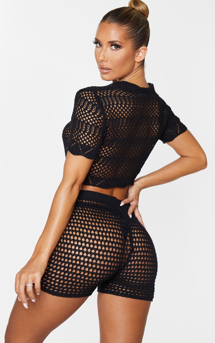 Black Ruched Front Crochet Short Sleeve Top 2
