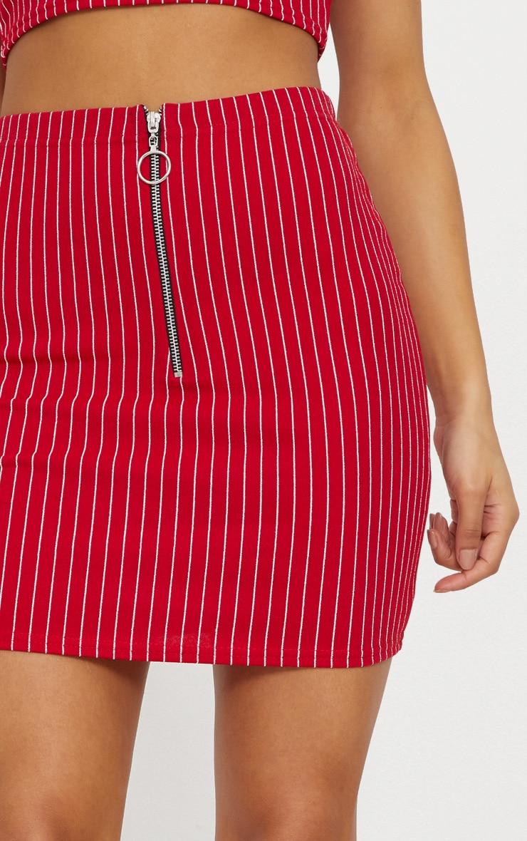 Red Pinstripe Mini Skirt 6