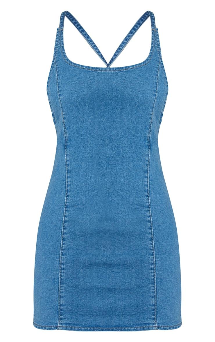 Light Blue Wash Strappy Back Denim Mini Dress 6