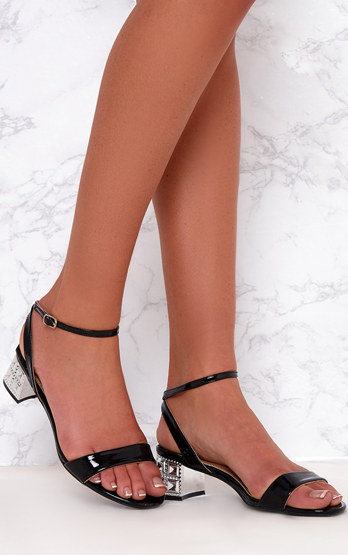 Black Low Block Single Strap Heels 1