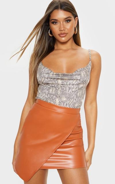 Chestnut Faux Leather Wrap Mini Skirt