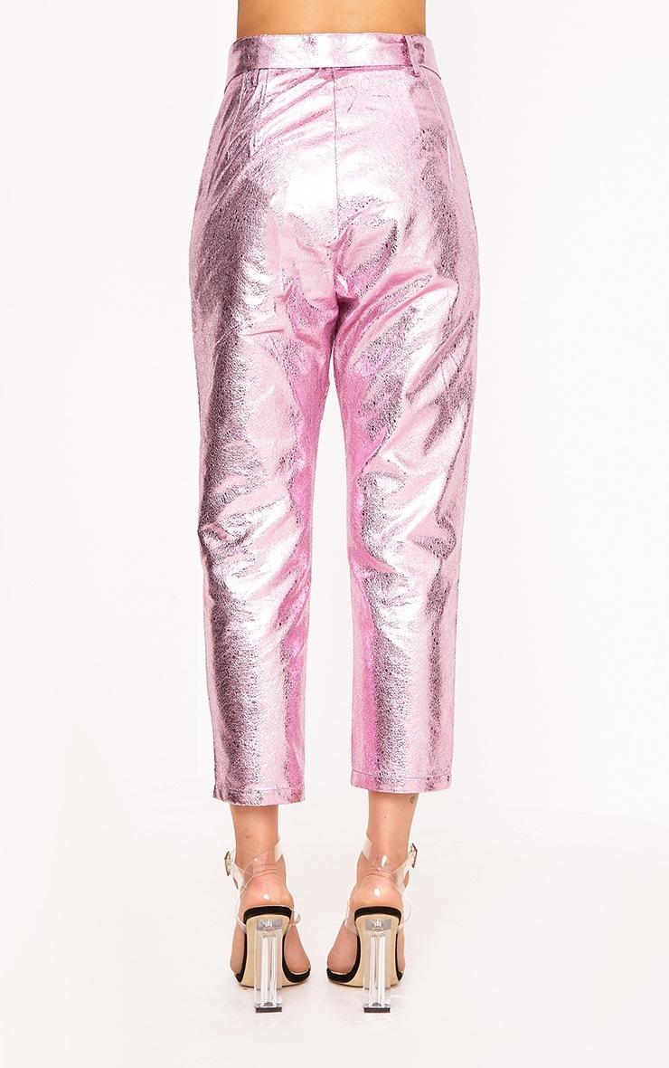 Leanne Pink Tie Waist Crack Vinyl Crop Trousers  4
