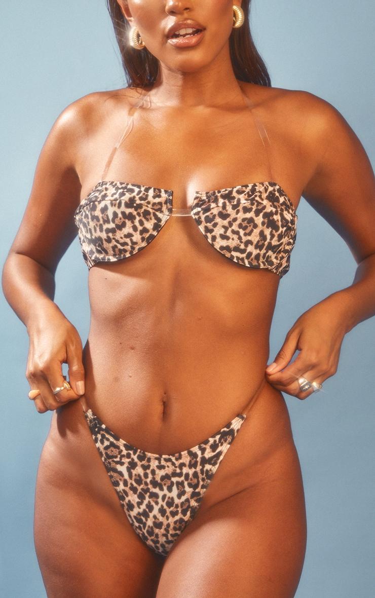 Leopard Clear Strap Side Bikini Bottoms 1