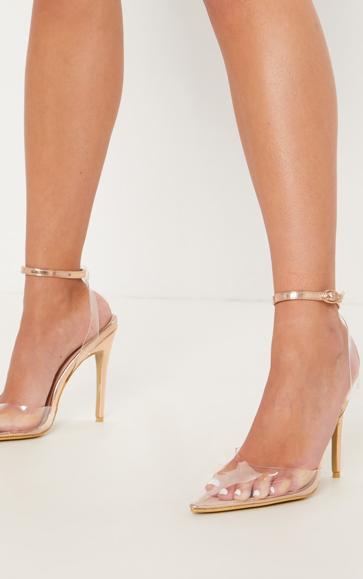 Rose Gold Clear Ankle Strap Court Shoes 1