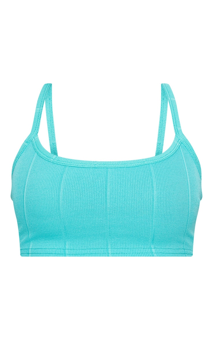 Shape Turquoise Strappy Bandage Crop Top 3