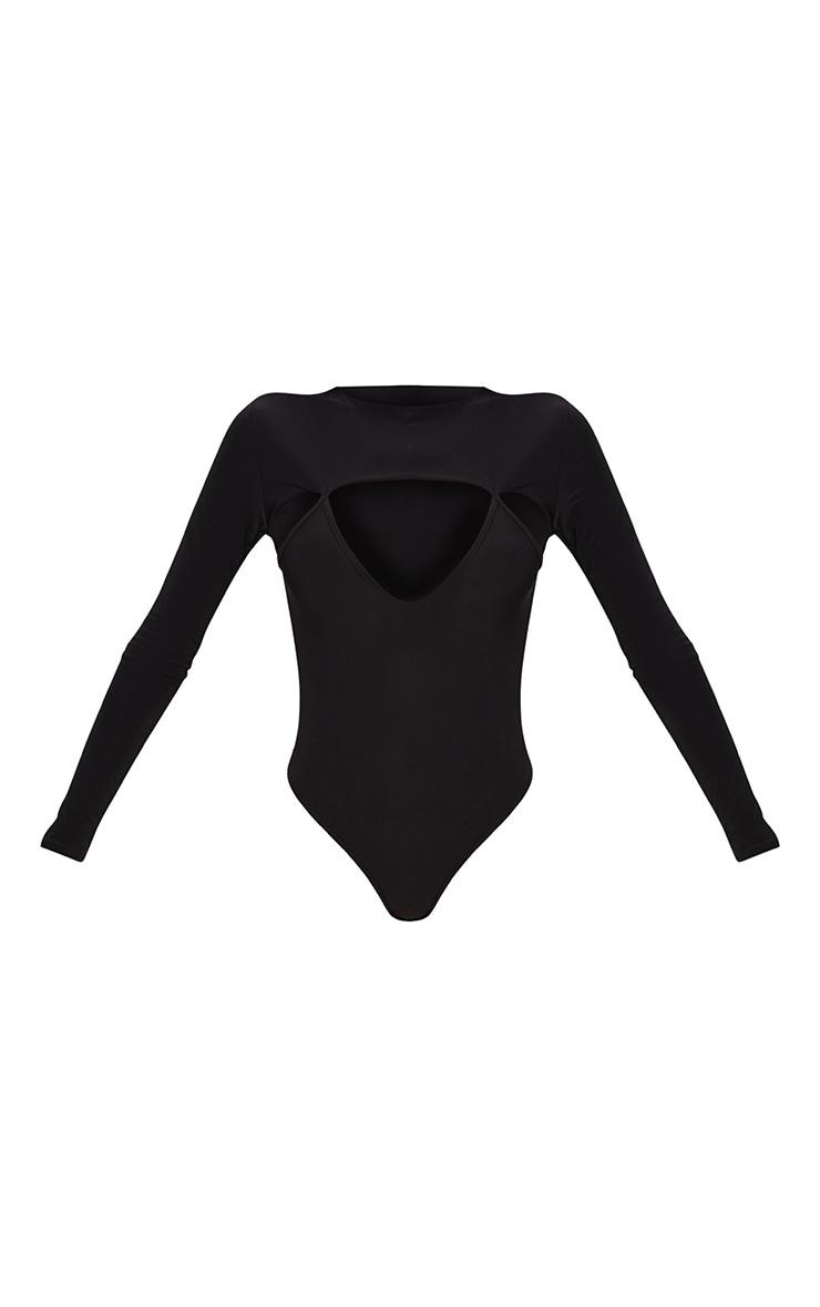 Black Slinky Cut Out Long Sleeve Thong Bodysuit 3
