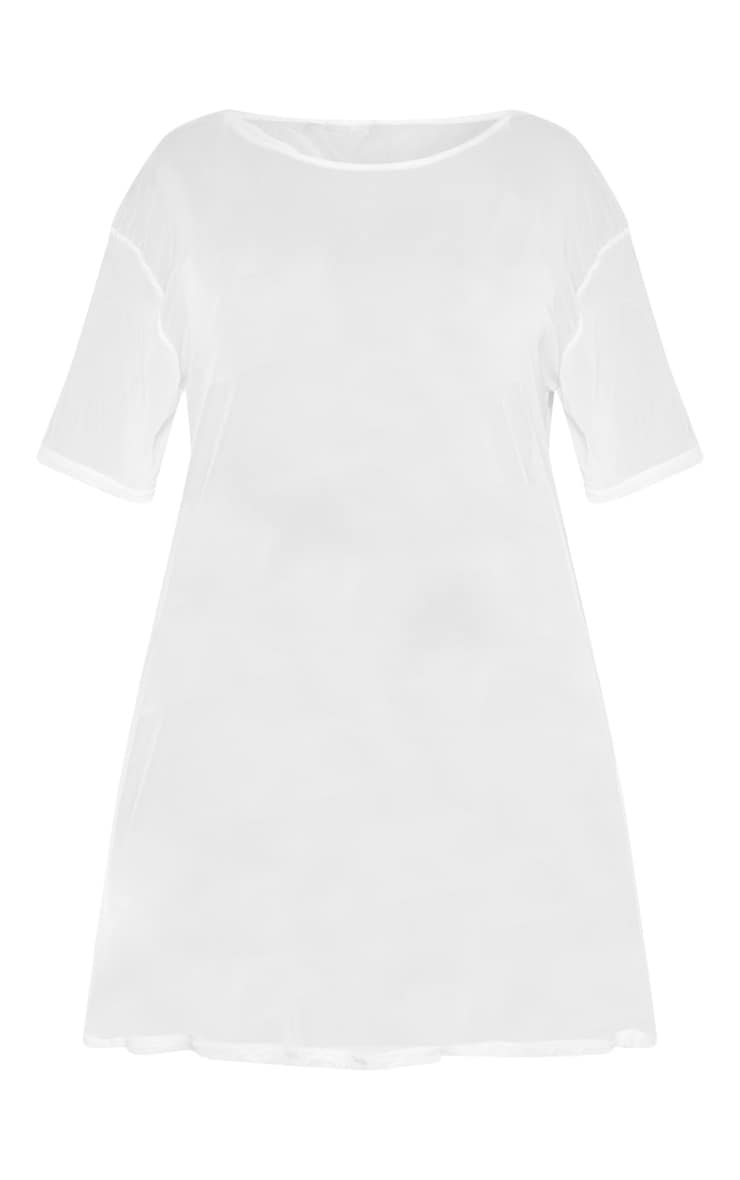Plus White Sheer Mesh Oversized T Shirt Dress  3