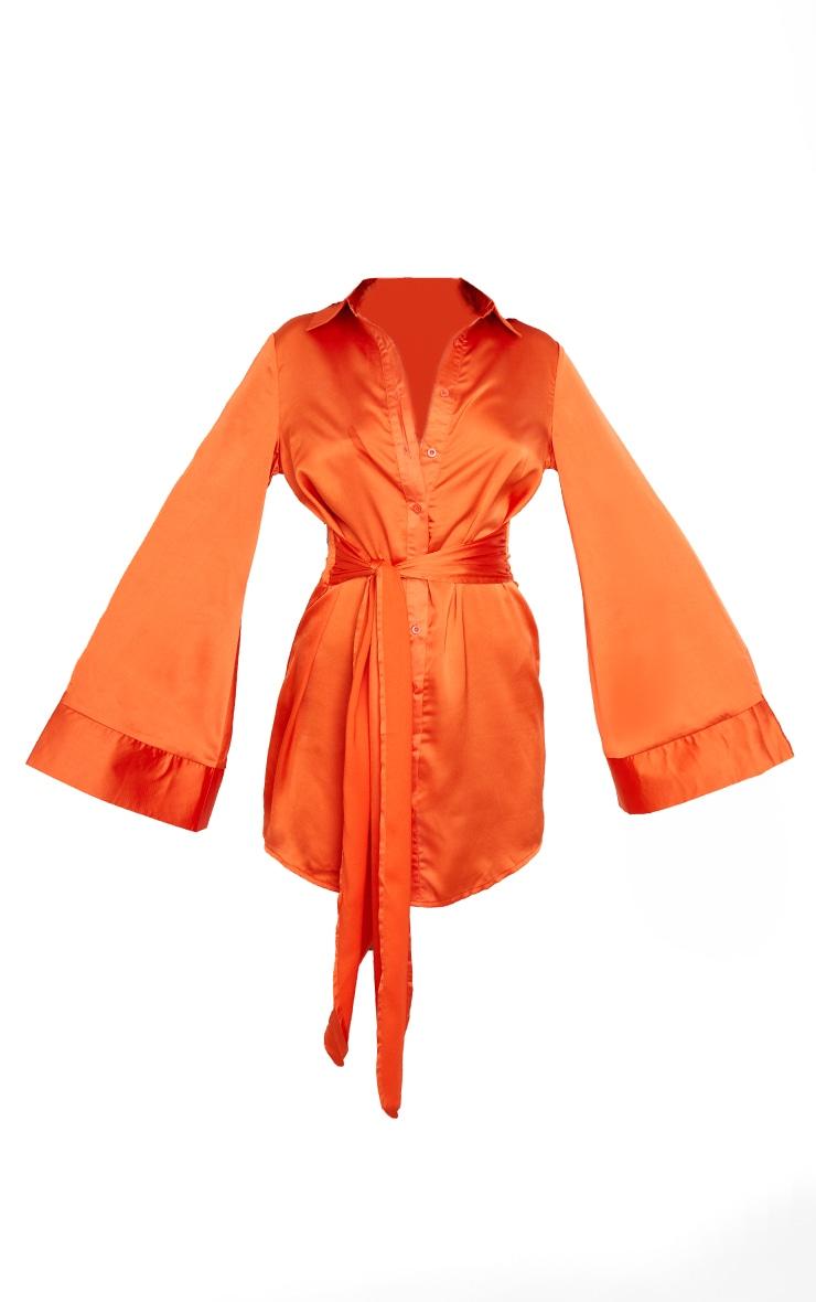 Orange Satin Exaggerated Sleeve Tie Waist Shirt Dress 5