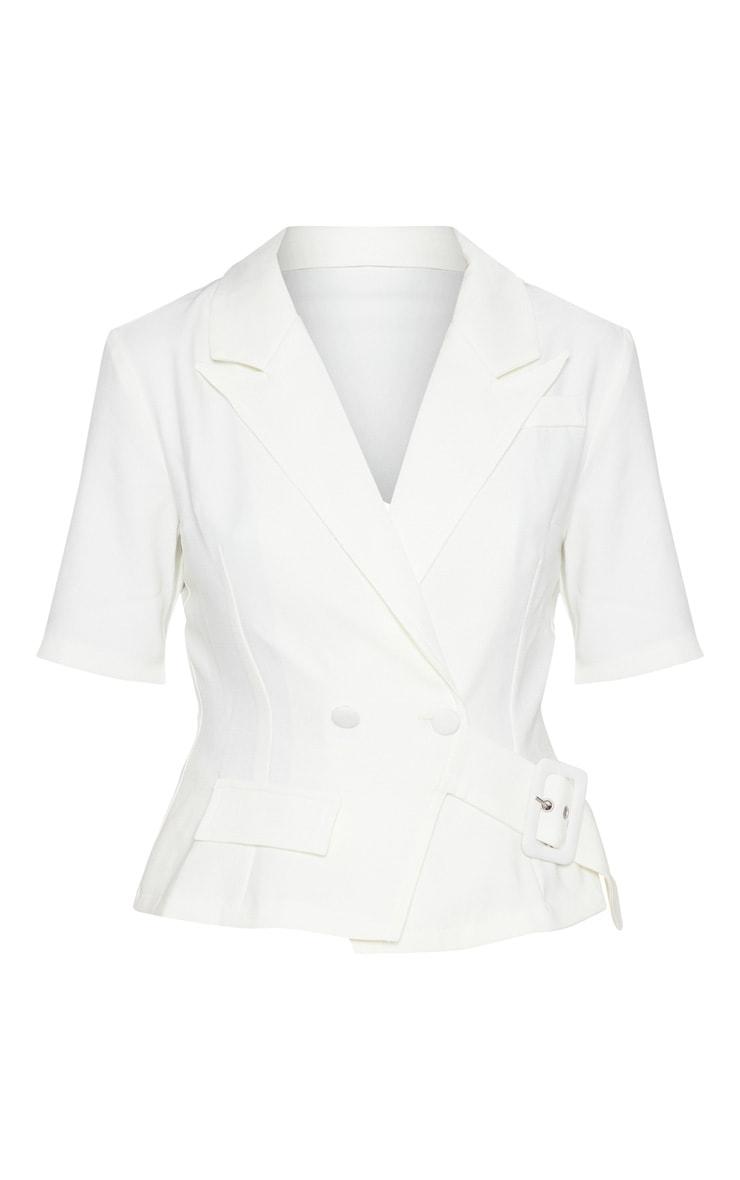 Cream Short Sleeve Military Shirt 3