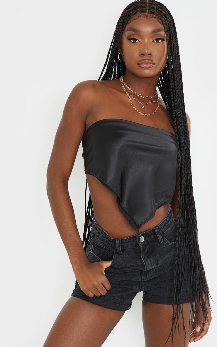 Tall Black Wash Turn Up Denim Mom Shorts 1