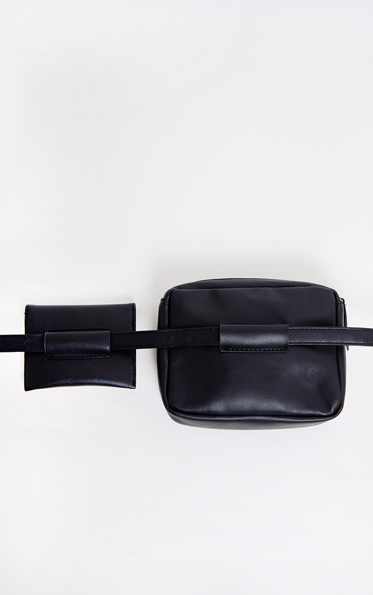 Black Studded Belted Double Bum Bag 5