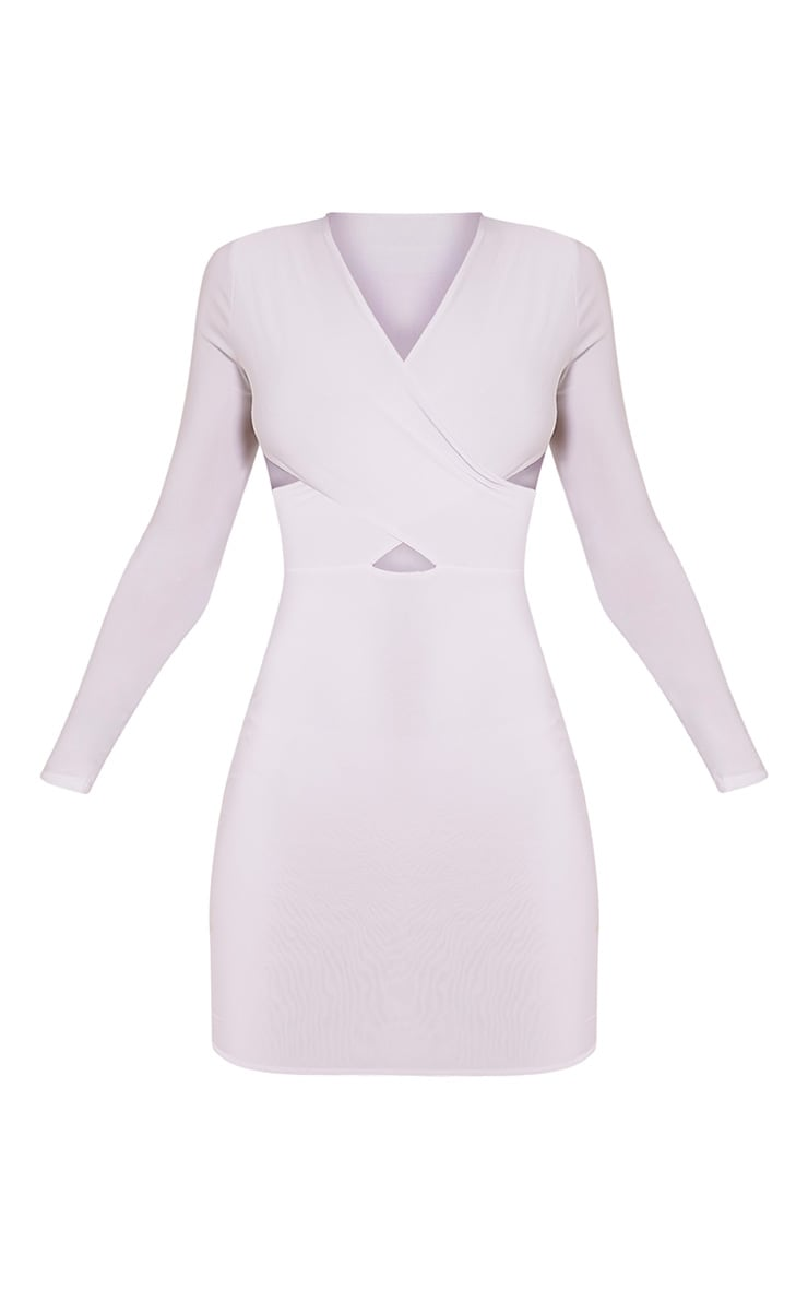 Tamaya White Long Sleeve cross front Bodycon Dress 3