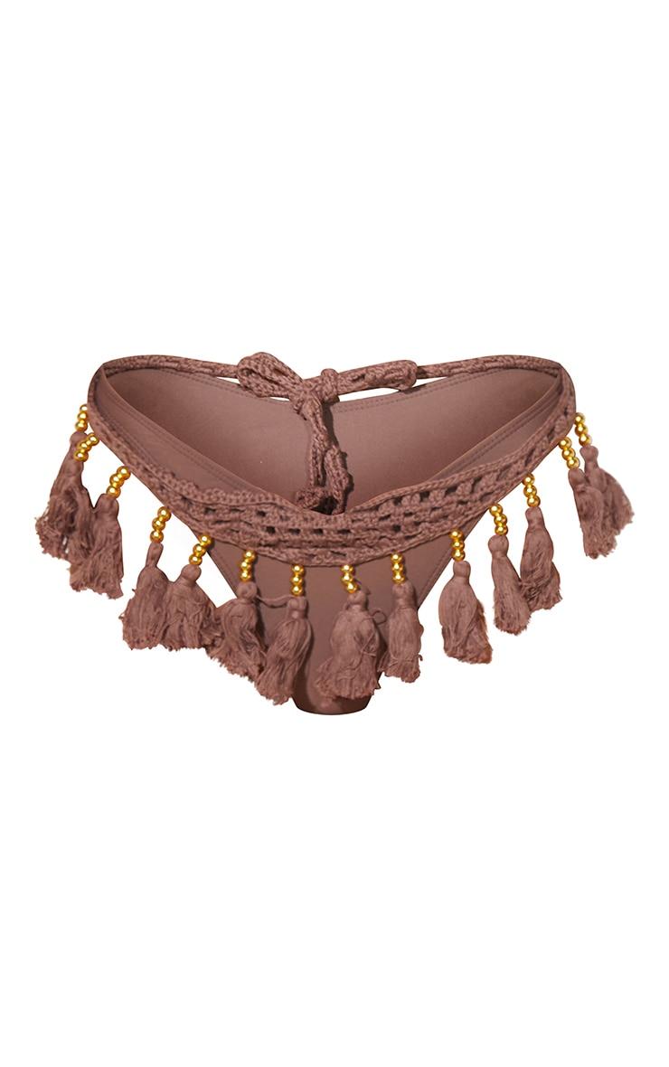Brown Crochet Tassel Knit Bikini Bottoms 5