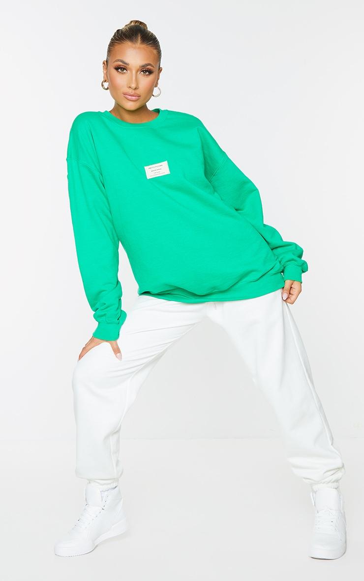 PRETTYLITTLETHING Bright Green Branded Apparel Woven Badge Sweatshirt 3