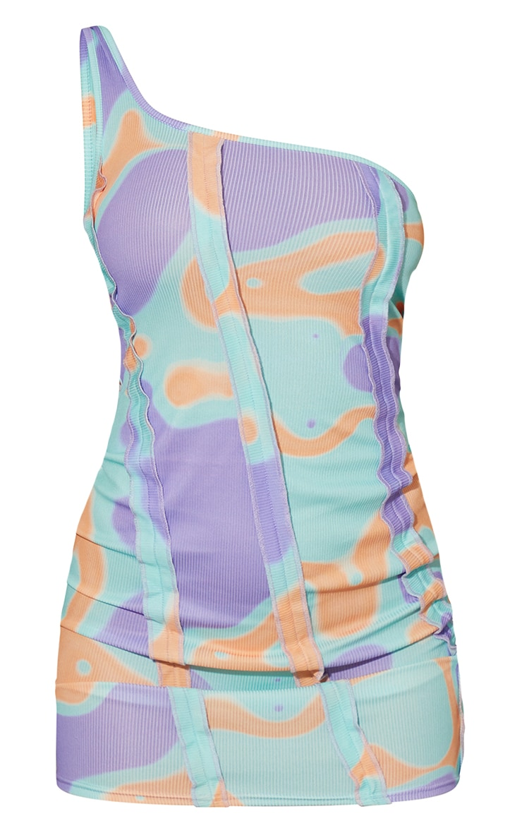 Multi Pastel Abstract Ribbed Ruffle Seam Detail One Shoulder Bodycon Dress 5