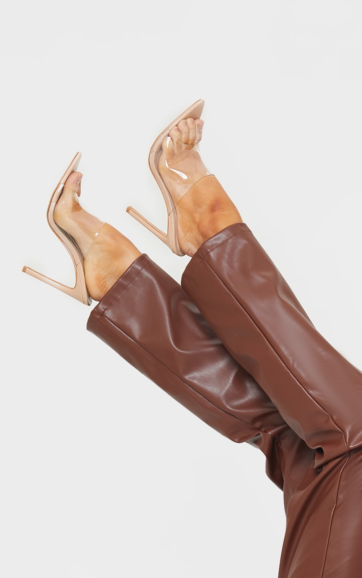 Nude Clear Strap Pu Point Toe High Heels 1