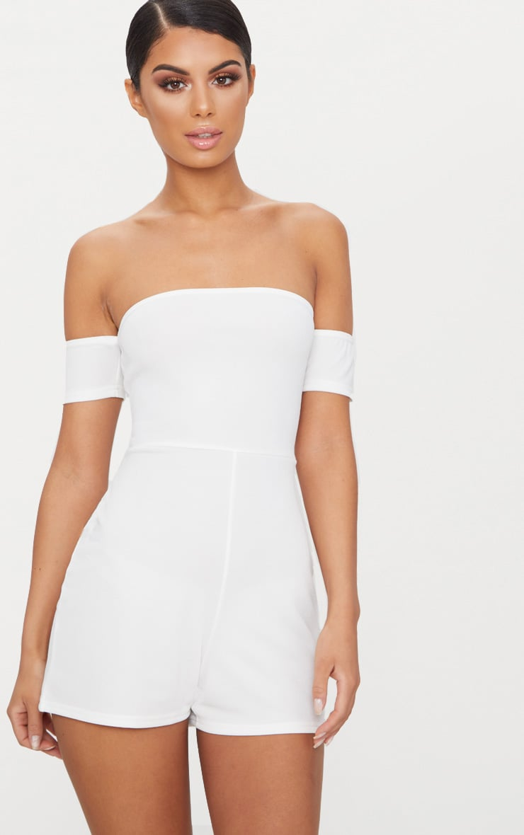White Crepe Short Sleeve Bardot Playsuit