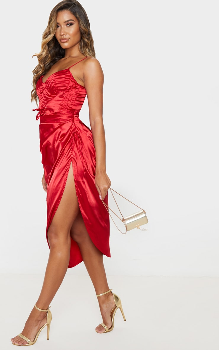 Red Ruched Tie Side Midi Skirt 5