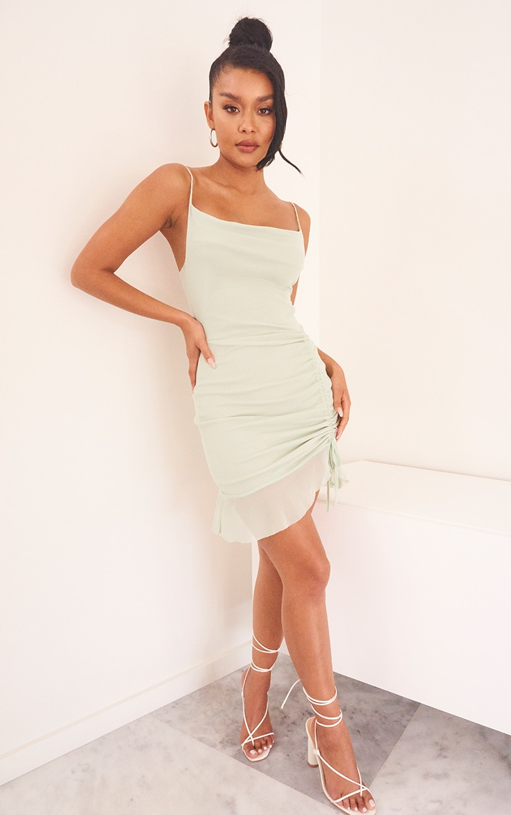 Sage Green Mesh Ruched Bodycon Dress 3