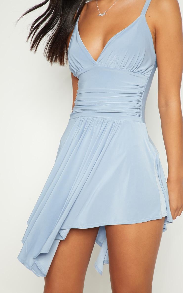 Dusty Blue Slinky Asymmetric Hem Swing Dress 4