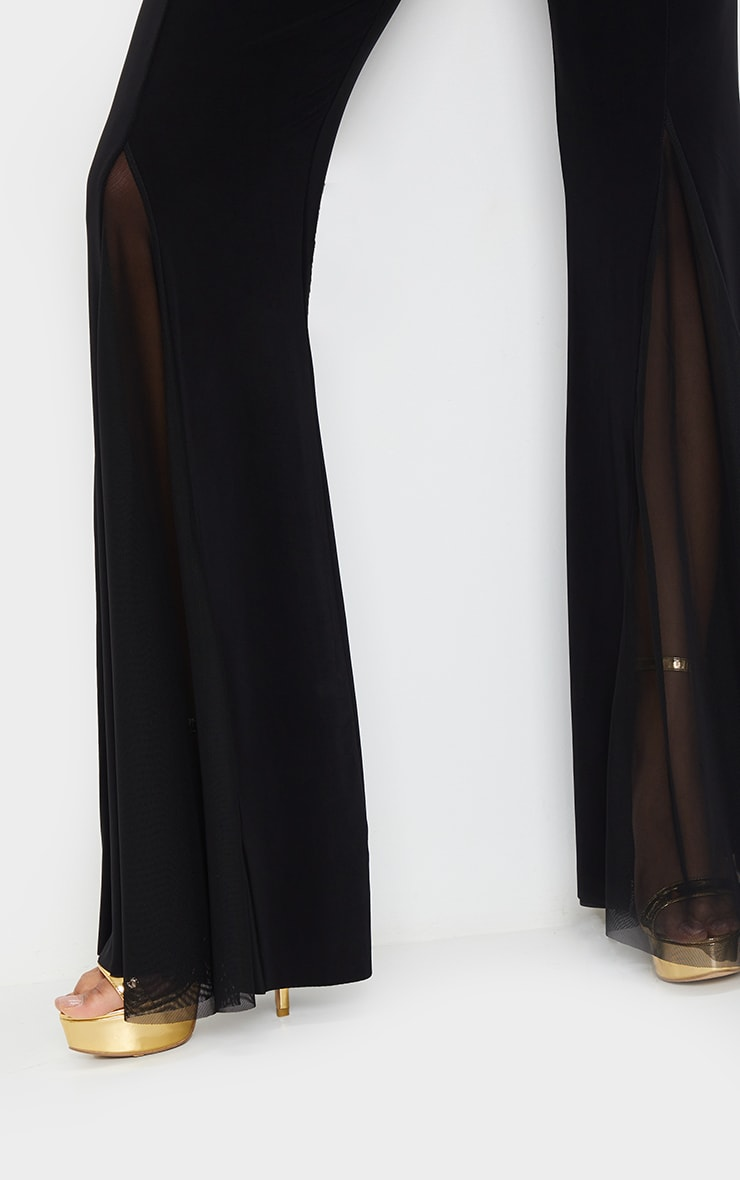 Black Slinky Sheer Panel Flared Trousers 4